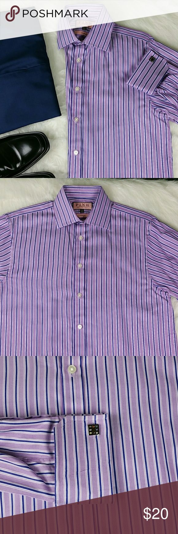 [Thomas Pink] Dress Shirt French Cuffs Stripe Thomas Pink Prestige - Luxury Dress Shirt Pre-owned - gently used Size: 15 Neck Measurements: See Photo #7 Material: 100% Cotton Does Not Come with Cuff Links Thomas Pink Shirts Dress Shirts