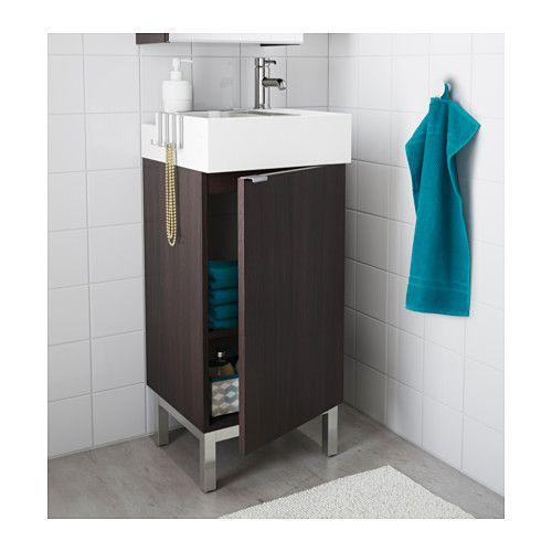 LILLÅNGEN Wastafel met onderkast 1 deur - zwartbruin - IKEA