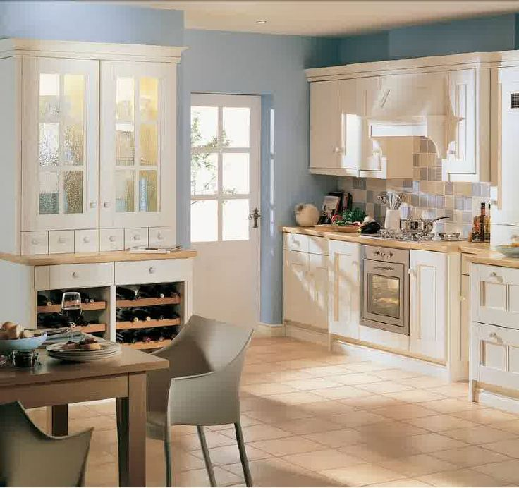 Modern Country Kitchen Blue kitchen: simple brown ceramic floor tile paired with white wooden