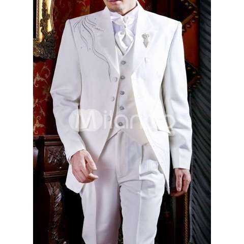 White Elegant Worsted Men's Wedding Suit-Groom Tuxedos-Groom Wear - Wedding Apparel - Photo