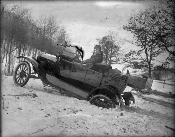 Ford Model T Touring Car Stuck in the Snow | Photograph | Wisconsin Historical Society