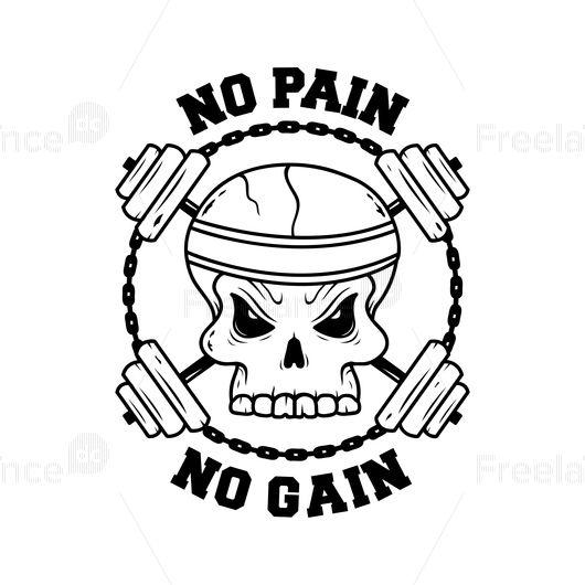 No pain No gain. Tattoo/arts. #skull #tattoo #barbell #sport #gum #idea #arts #freelancediscount
