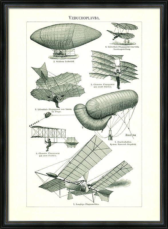 Vzduchoplavba - staré kresby prvních pokusů o létání