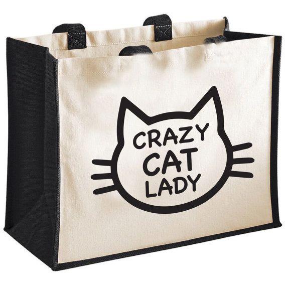 Crazy Cat Lady Cotton/Canvas Jute Shopping Bag/Tote - Novelty Gift/Secret Santa/Pet Lover/Kitten