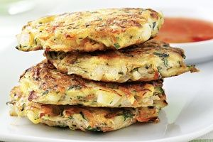 Vegetable fritters. So quick and easy. Veggies and protein with the added egg. Used regular flour instead of self-rising and it worked fine. Bland enough for my toddler to enjoy but it would be easy to add more flavourful ingredients.