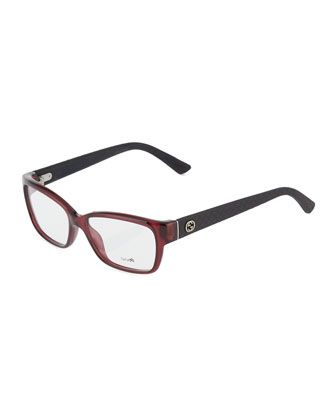 Square Plastic Optical Glasses, Violet by Gucci at Neiman Marcus Last Call.