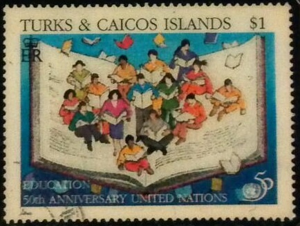 book postage stamp, turks & caicos islands, education, 50th anniversary united nations