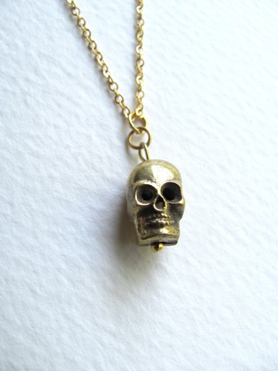 Gold skull charm necklace on delicate 14k by MySoCalledVintage, $26.00: Plates Chains, Charms Necklaces, Gold Plates, Satin Finish, 14K Gold, Delicate 14K, Skull Charms, Charm Necklaces, Gold Skull
