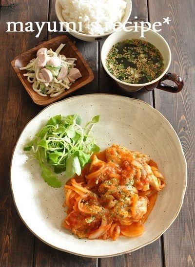 特売鶏むね肉がしっとり♡チキンのトマト煮込みと、かぼちゃ煮のリメイクレシピ。