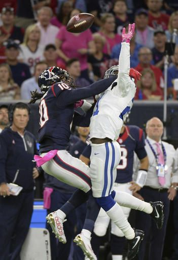 Colts vs. Texans:   October 17, 2016   -  26-23, Texans  -     Indianapolis Colts\' Vontae Davis (21) breaks up  pass intended for Houston Texans\' DeAndre  Hopkins (10) during the first half of an NFL  football game Sunday, October, 16, 2016