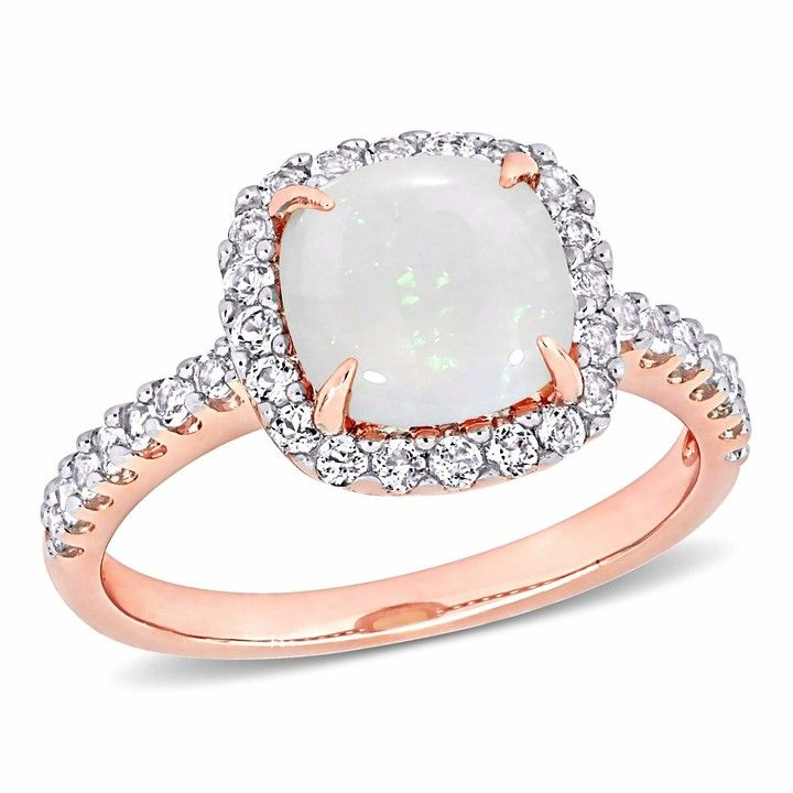 Ladies Modern 14K Two-Tone Gold Blue /& White Topaz Gemstone Twisted Shank Ring