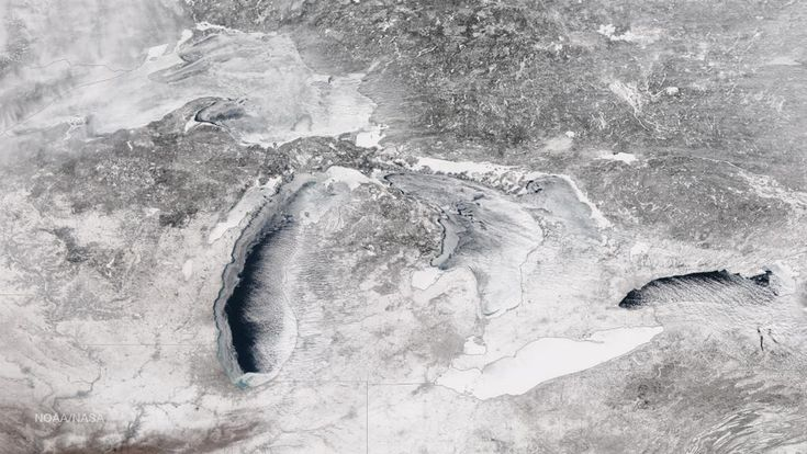 Great Lakes Ice Coverage on Feb 23, 2015, photo byNOAA Environmental Visualization Laboratory In Great Lakes Total Ice Cover Nears 85% NOAA reports: The NOAA Great Lakes Environmental Research Lab...