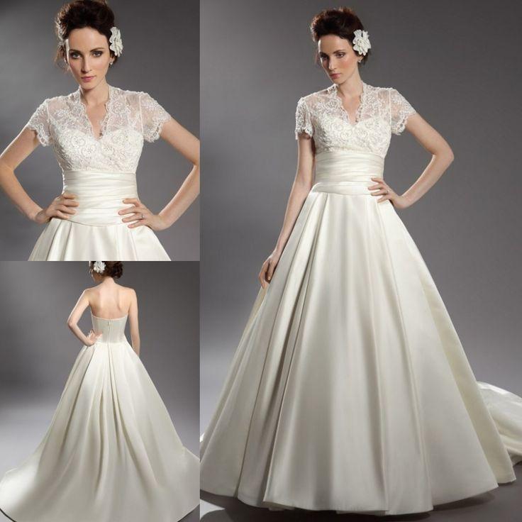 Цены-заводские евро модные романтические платье-линии свадебные платья мантия де свадебная с коротким рукавом Vestido Noiva Casamento