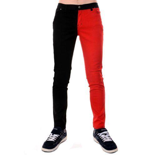 Jist Men's Split Leg Drainpipe Jeans 30 Red & Black Jist http ...