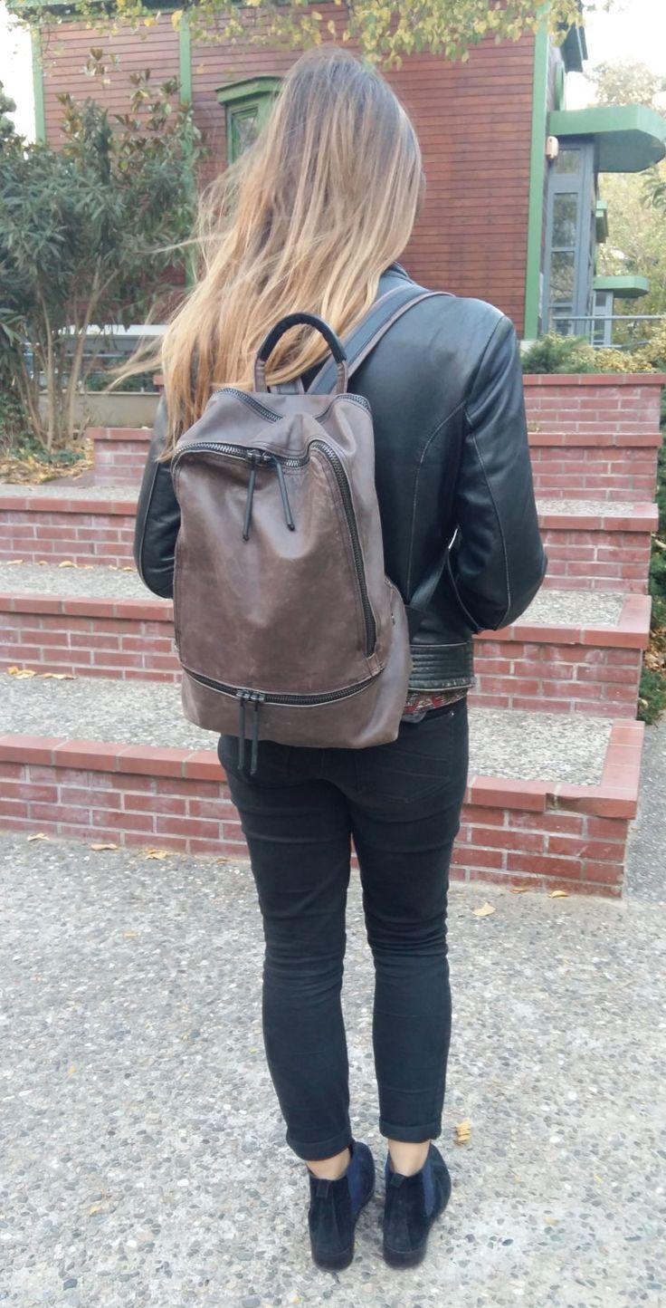 Grey leather backpack,Grey oil Leather Rucksack, weekend backpack, elegant backpack for men and women by UJaneBags on Etsy