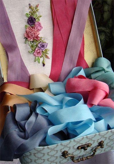 шелковые ленты опт купить, вышивка лентами, ленты для вышивки, натуральный шелк