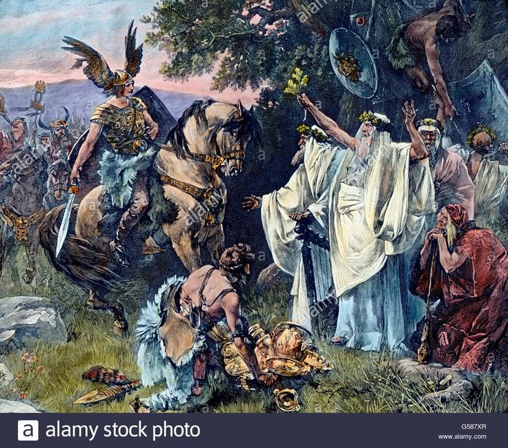 Download this stock image: Arminius oder Hermann der Cherusker bei den Priestern und Druiden. Europe, Germany, the Germanic peoples, tribes, 1910s, 1920s, 20th century, archive, Carl Simon, history, historical, Armin, druid, priest, warrior, woman, men - G587XR from Alamy's library of millions of high resolution stock photos, illustrations and vectors.
