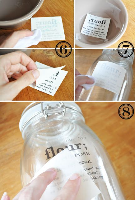 DIY decals: Transfer Tutorials, Diy Crafts, Jars Labels, Decals Transfer, Great Ideas, Free Printable, Mason Jars, Kitchens Canisters, Diy Labels