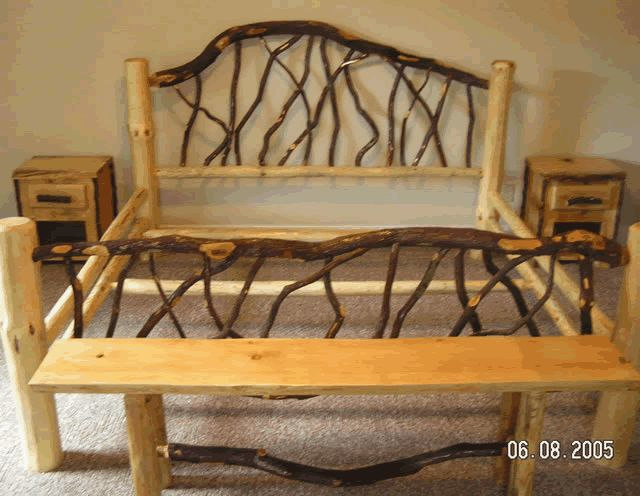 25 best ideas about log bed frame on pinterest log bed for Rustic wood designs