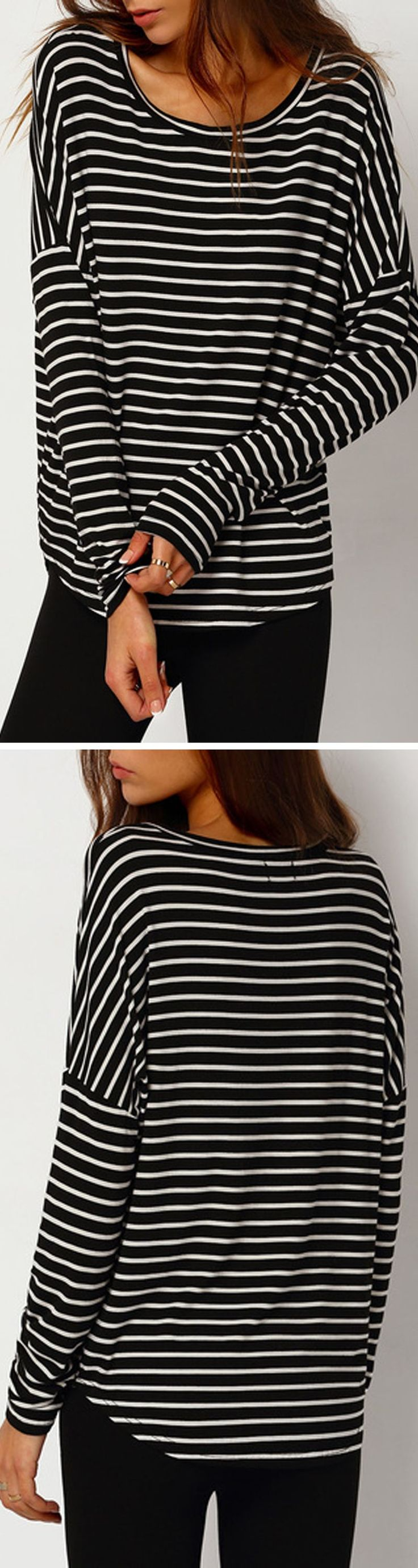 Classic stripe cotton shirt with long sleeve at romwe.com. Nice for spring travel outfit!Click for more women fashion items!