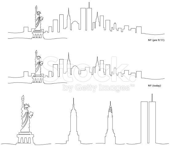 Stylized Skyline of New York City royalty-free stock vector art
