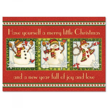 Snowmen in Squares Christmas Greeting Cards | Current ...