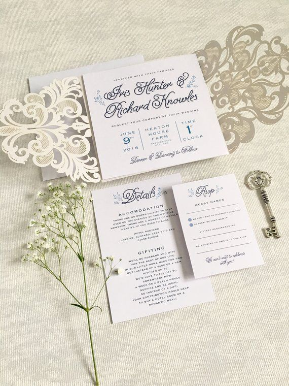 2018 年の karis laser cut wedding invitation purple cut out