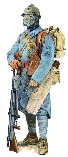 FRANCE - 1914-1919 Soldado frances con una ametralladora 'Chauchat' y mascara antigas.