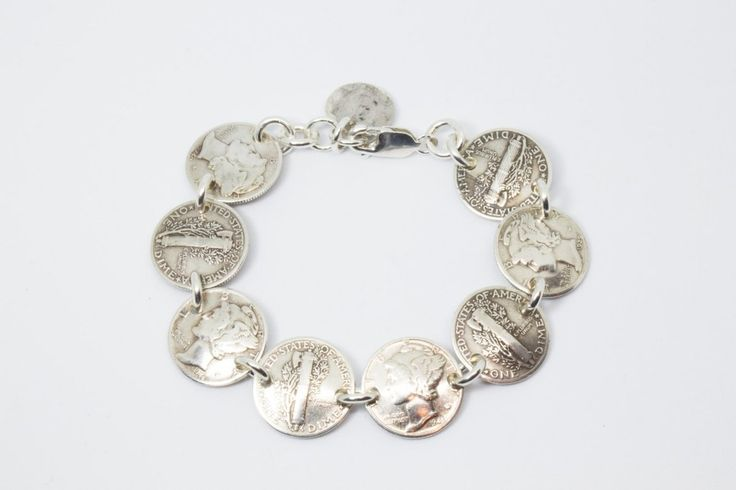 Bracelet Handmade from Vintage Silver Mercury Dimes (Heads & Tails) with Solid Sterling Silver Findings