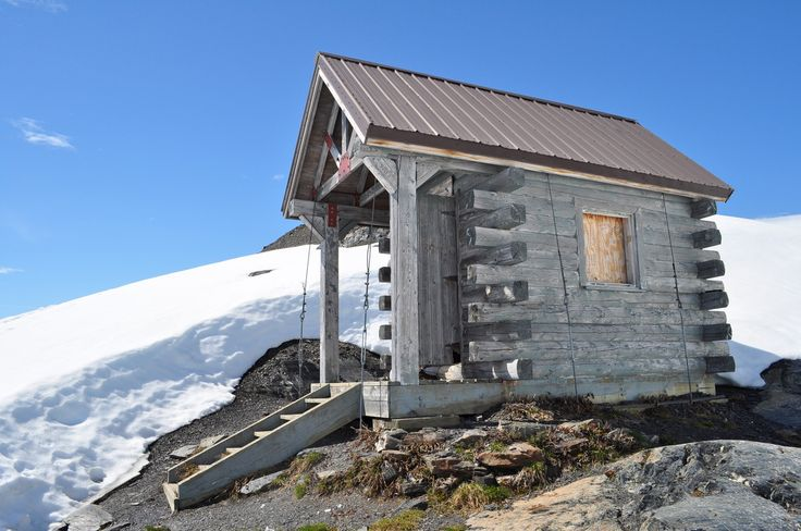 Emergency cabin at the top of the Harding Icefield Trail, Kenai Fjords National Park, Alaska.