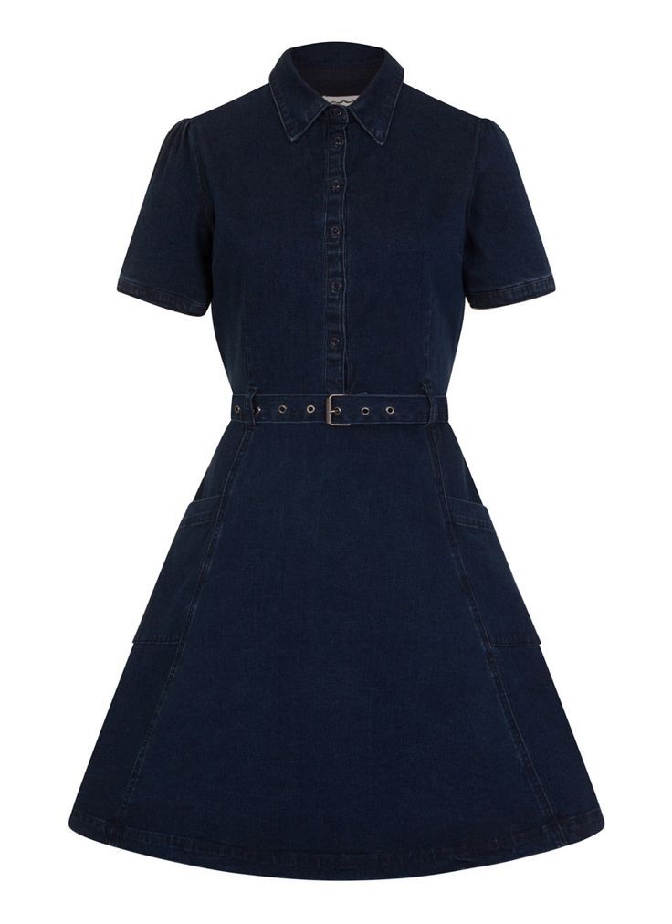 Beryl is the perfect vintage-inspired denim shirt dress in a darkwash denim with pockets, side-zip, button-through front and belted waist.