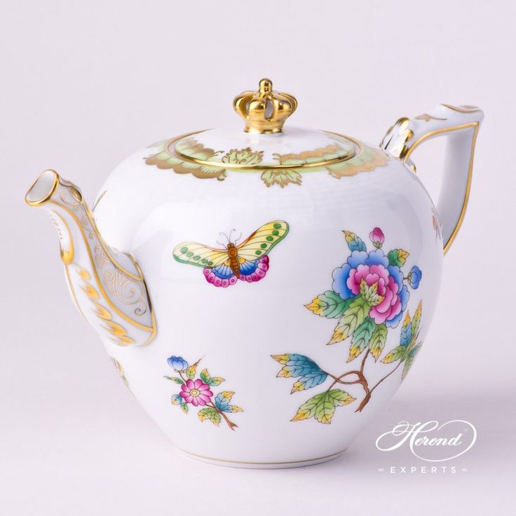 "Herend porcelain Tea Pot with Crown Knob – Herend Queen Victoria VBO decor. 1 pc – Tea Pot – vol 8.0 dl (27 OZ) 606-0-91 VBO+INS – Multicolor   The Herend Queen Victoria VBO pattern can be ordered in 7 different color versions. Special, Limited Edition:  2015  pieces   ""To Commemorate the Birth of         Her Royal Highness           Princess …"