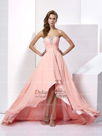 Elegant A-Line/Princess Sleeveless Beading Chiffon Sweetheart Sweep/Brush Train Dresses
