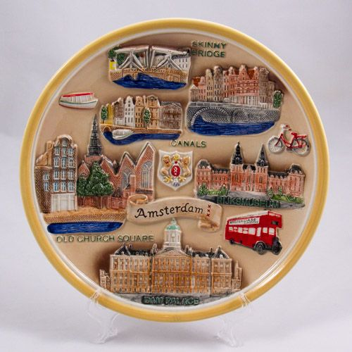 Souvenir Plate: Netherlands. Amsterdam Main Sights (Ceramics, Diameter 25 cm)