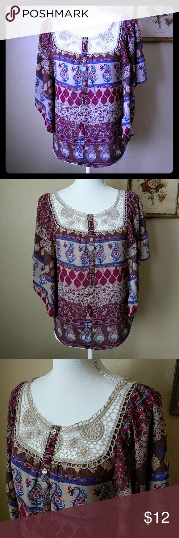 Juniors XS Floral Crochet Boho Paisley Top Beautiful Paisley Floral top in magenta, purples and brown tones with batwings. Gorgeous crochet detail. Very gently worn, like new. Full Tilt Tops Blouses