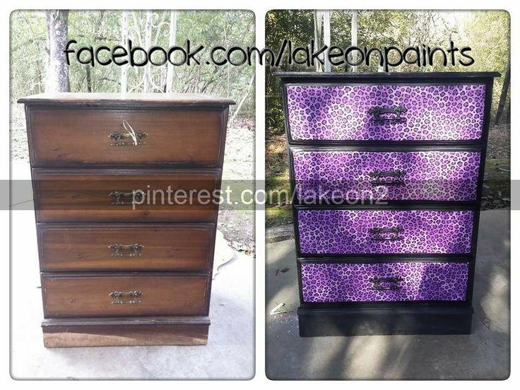 Purple Cheetah Dresser Lod Podge Fabric Diy Furniture Makeover