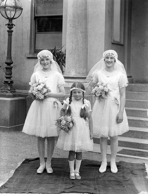 A trio of cheerful Irish flower girls, July 27, 1929. #vintage #wedding #1920s
