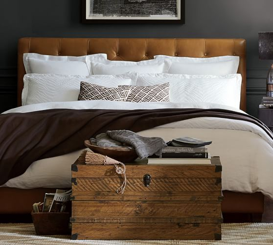 Lorraine Tufted Leather Headboard | Pottery Barn