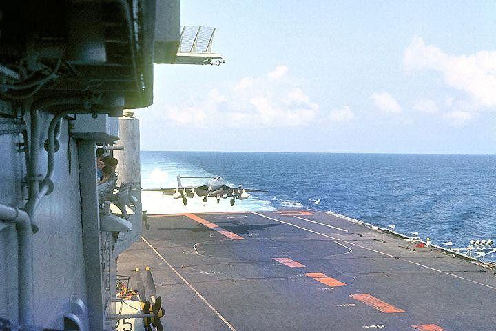 Royal Navy Fleet Air Arm 892 NAS Sea Vixen FAW.1 landing on HMS Centaur c.1964