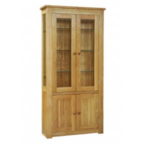 Contemporary Solid Oak QPDC 2 Door Glass Display  www.easyfurn.co.uk