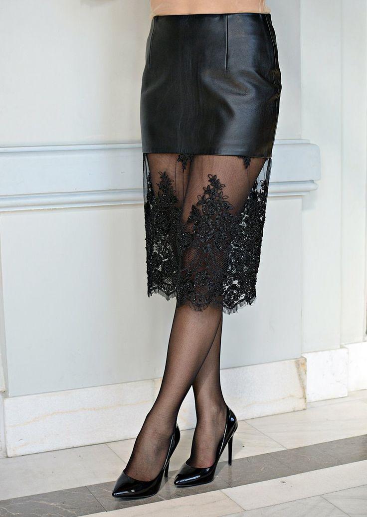 Midi black leather skirt by DSTcraft on Etsy