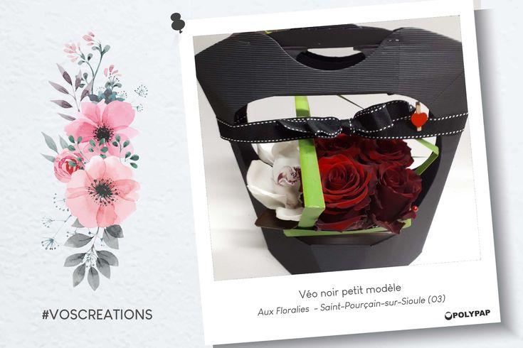 St Valentin - Composition piquée véo noir petit modèle