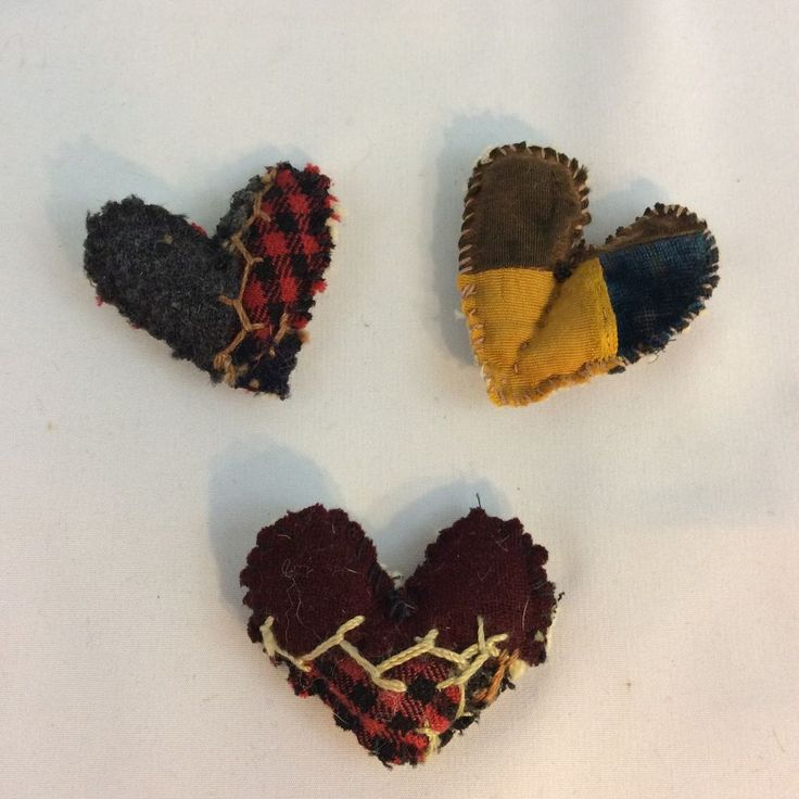 Antique Crazy Quilt Handmade Puffy Heart Pin Brooch Set of 3 Upcycled #Handmade