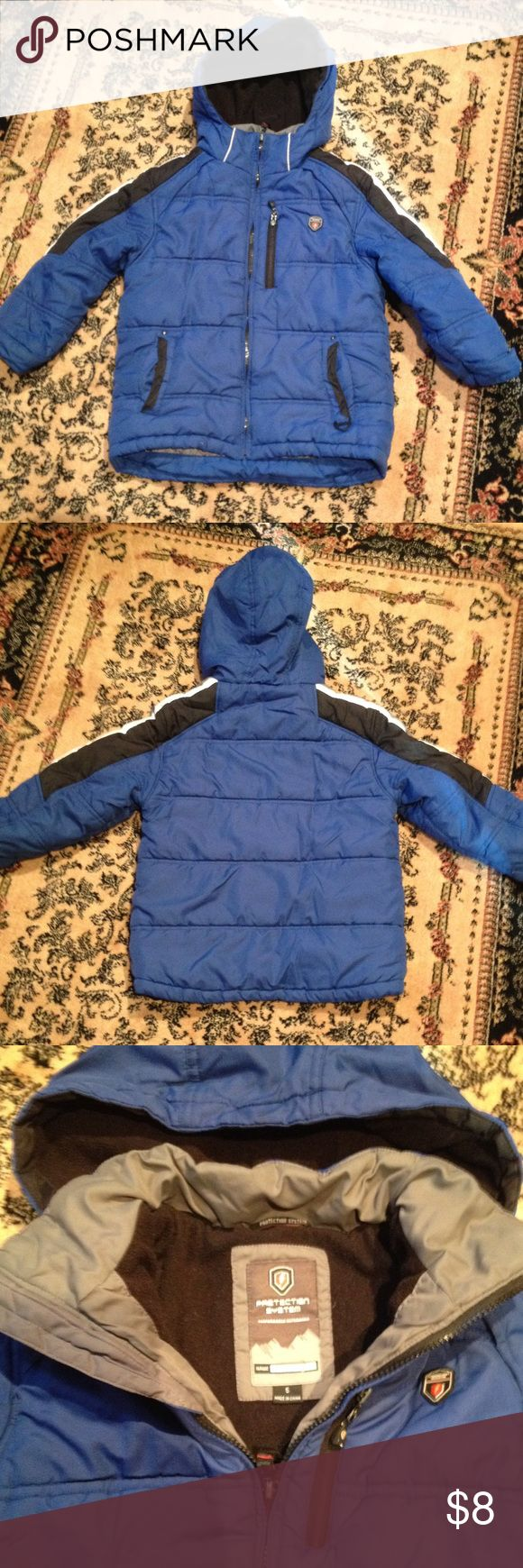 Boys  winter warm blue jacket/ coat, size 5 Boys winter coat size 5 . Cozy lining inside , warm . In good used condition, has visible signs of wear, zippers work. Price for quick sale. Protection System Performance outwear Jackets & Coats