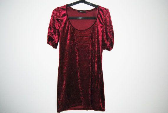 Goth Vintage Red Burgundy Velvet Dress