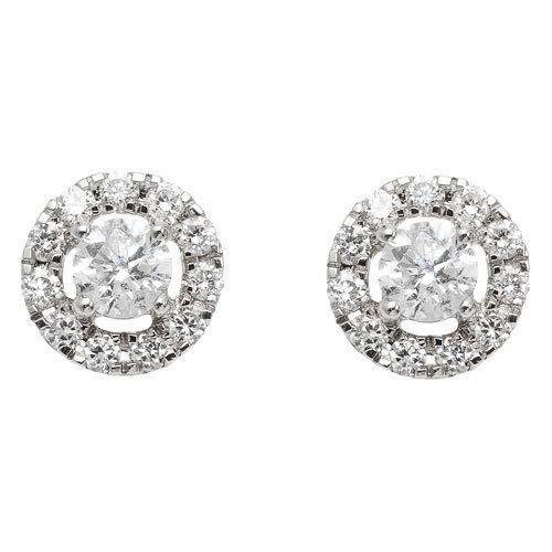 Boucles d'oreilles Puces en Or blanc, diamants solitaires ronds et leurs cercles pavés