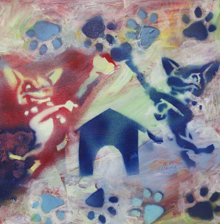 Goloria 'Perros enfrentados' #jovenesartistasjerezdeloscaballeros #arte #jerezdeloscaballeros