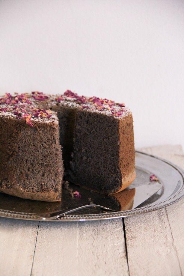 rose black sesame chiffon cake