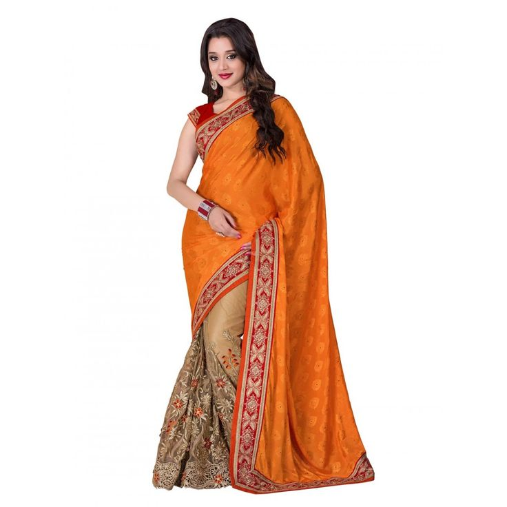 Orange and Beige Crepe Wedding #Saree With Blouse- $75.23