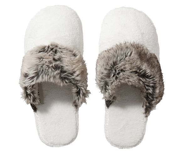 Cozy Faux Fur Slippers | Pottery Barn
